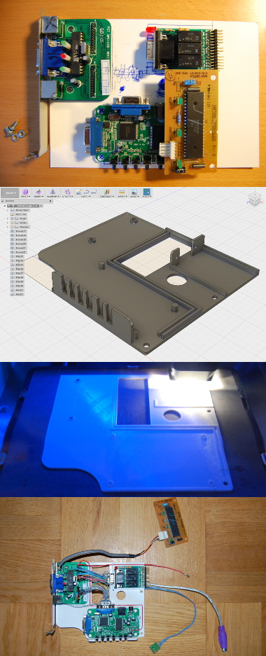 With some help from the 3D printer I manufacture a bottom plate to put the circuits on.